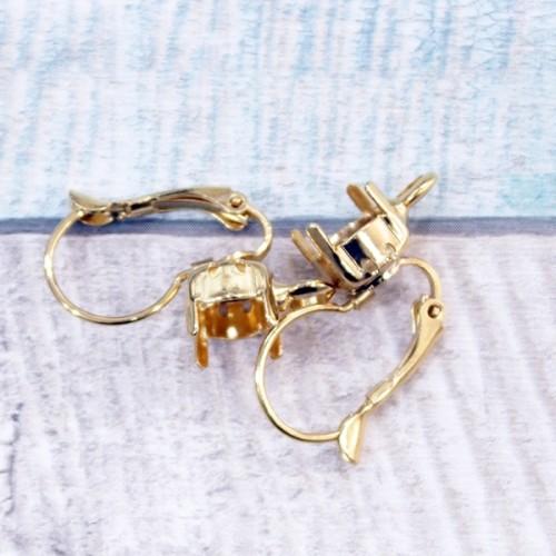 """עגילים לשיבוץ 8 מ""""מ עם לולאה זהב"""