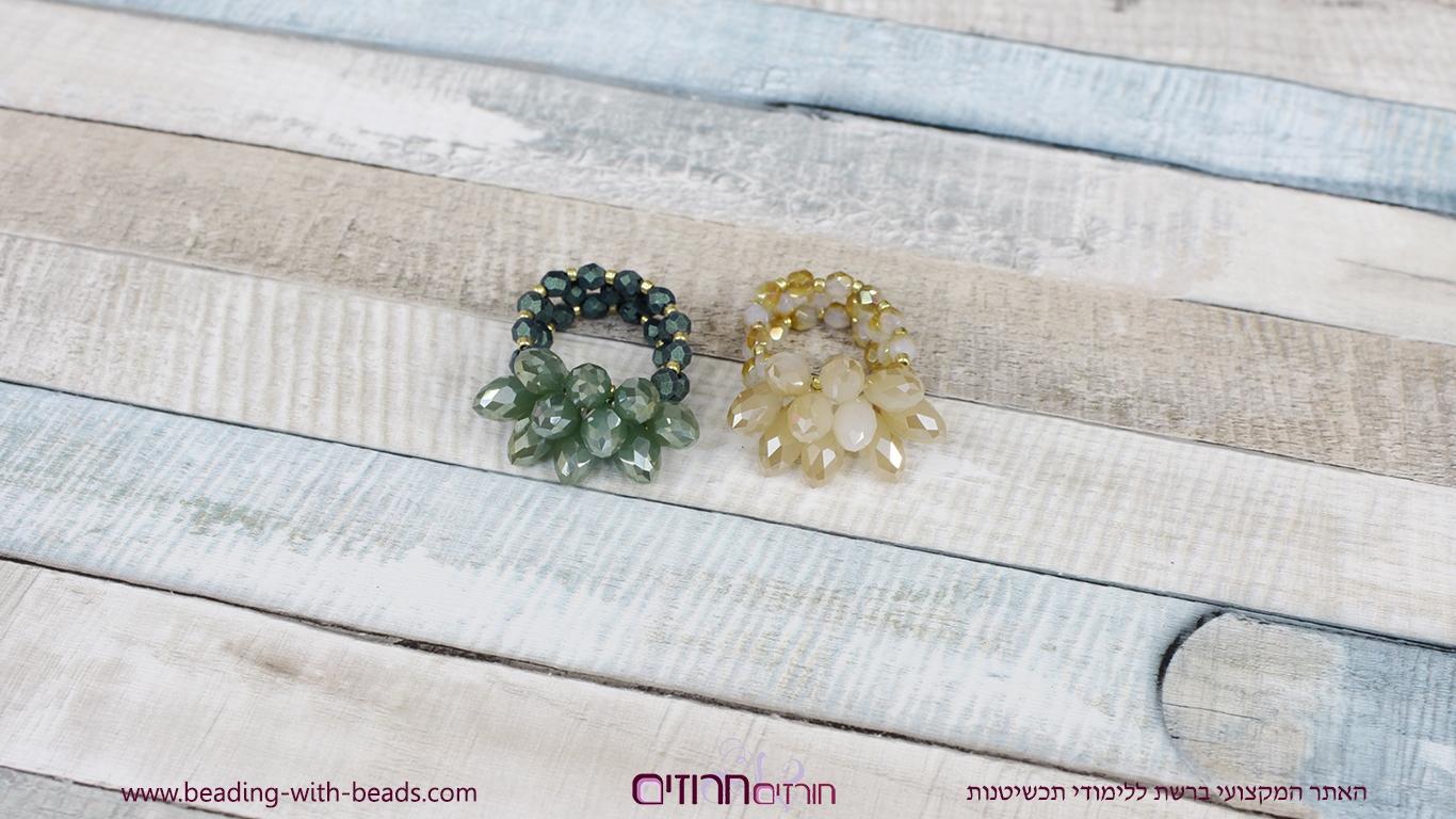 סדנת תכשיטנות בוידאו להכנת טבעת עם טיפות וחרוזי פייר פוליש